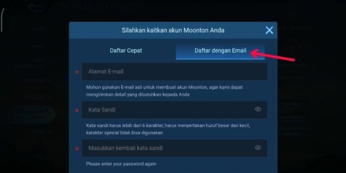 Daftar Akun Moonton dengan Email