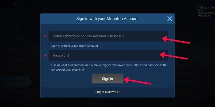 Isikan Email dan Password Akun Moonton ML