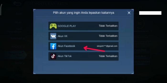 Pilih Akun Facebook