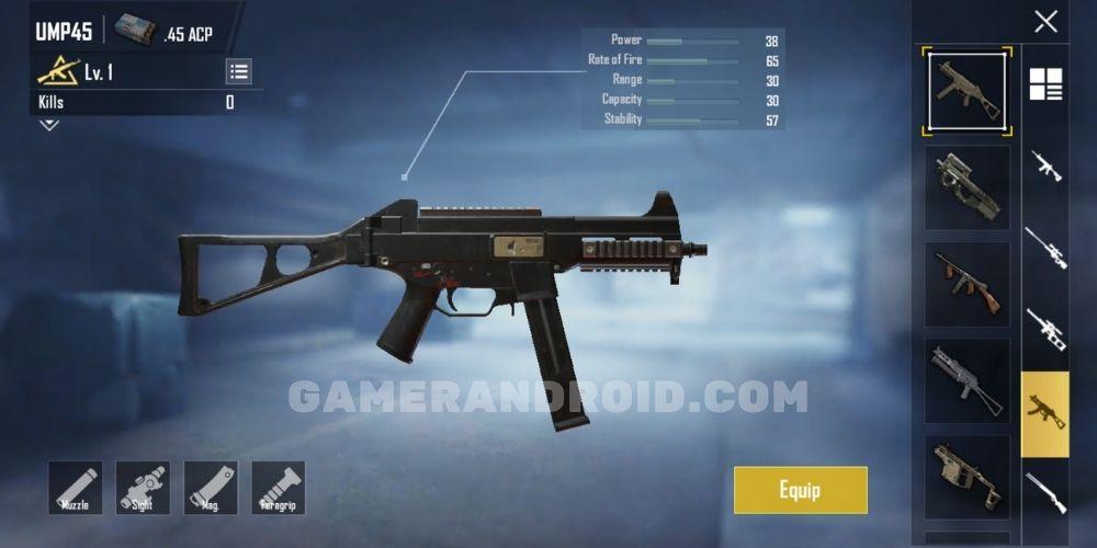 Senjata UMP 45 Recoil Kecil